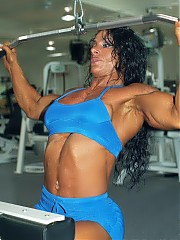Debbie Bramwell works out and hits the shots in the gym, with emphasis on her incredible upper body