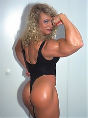 Denise Rutkowski has huge arms, chest, back, and killer legs and gluts