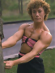 Connie McCloskey showing off alot of muscularity