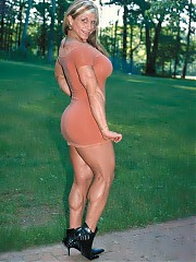 Michelle Ivers showing off an awesome physique in 'cinnamon' colored body dress