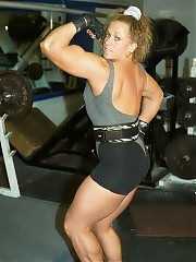 Renee O'Neill working out and posing in the gym