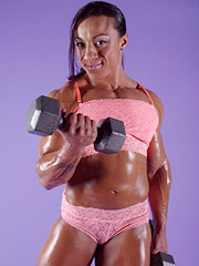 Karen Garrett shows off her big buff muscles