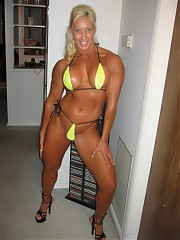 Very beautiful female bodybuilders put on most attractive clothes and lingerie during posing on cam.