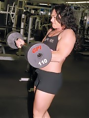 Kim Birtch strong lifting in the gym